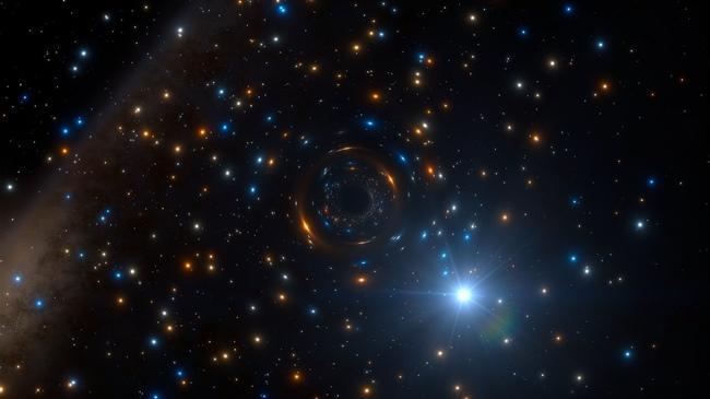 Impresión artística del sistema binario con agujero negro en NGC 3201.
